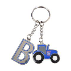 Initial Tractor Keyring Blue B