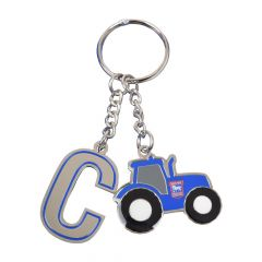 Initial Tractor Keyring Blue C